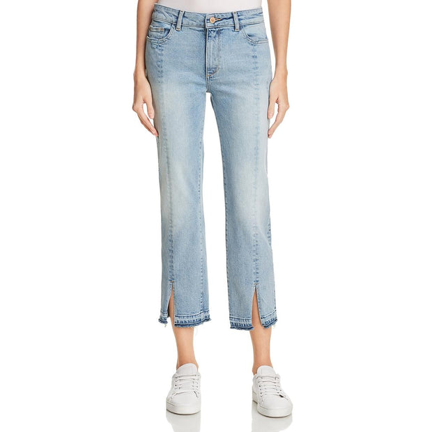 Mara Womens Straight Distressed Ankle Jeans