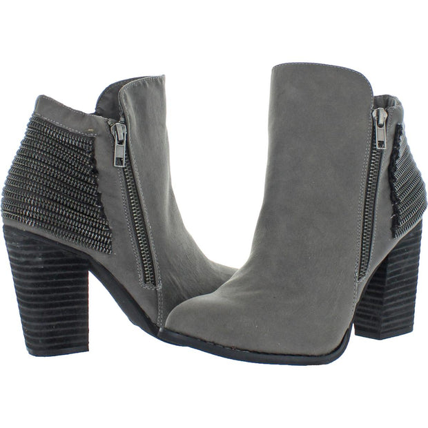Zip Me Up Womens Faux Leather Block Heel Ankle Boots