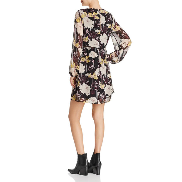 Womens Floral Print Garden Party Mini Dress