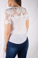 Load image into Gallery viewer, Short Sleeve Crochet Trim Top