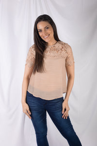 Short Sleeve Crochet Trim Top
