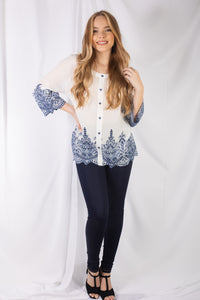 Embroidery Eyelet Rounded Top