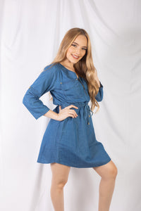 Zipper Front Denim Dress