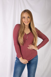 Ribbed V Neck Top