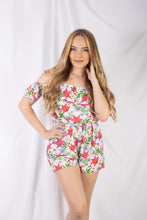 Load image into Gallery viewer, Floral Cold Shoulder Romper