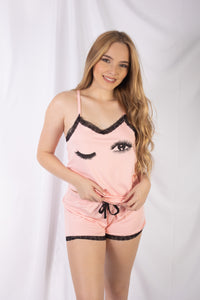 Wink Face Pajama Set