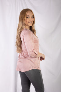 V Neck Elbow Sleeve Top