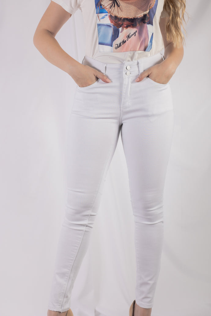2 Button White Jean