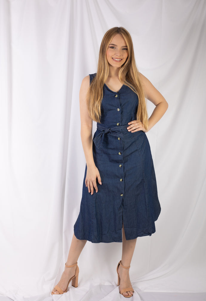 Button Down Maxi Denim Dress