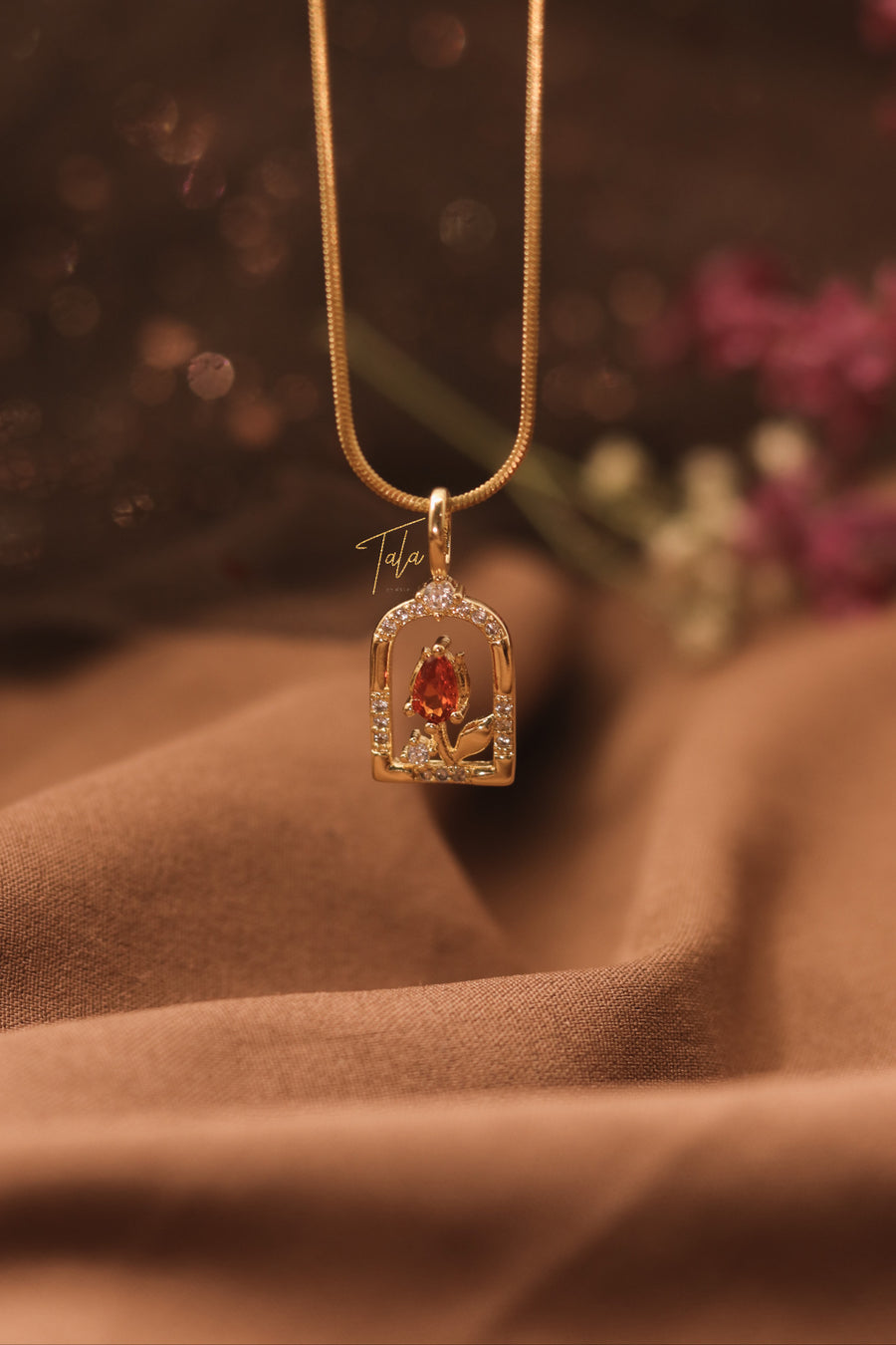 Belle Red Rose Necklace