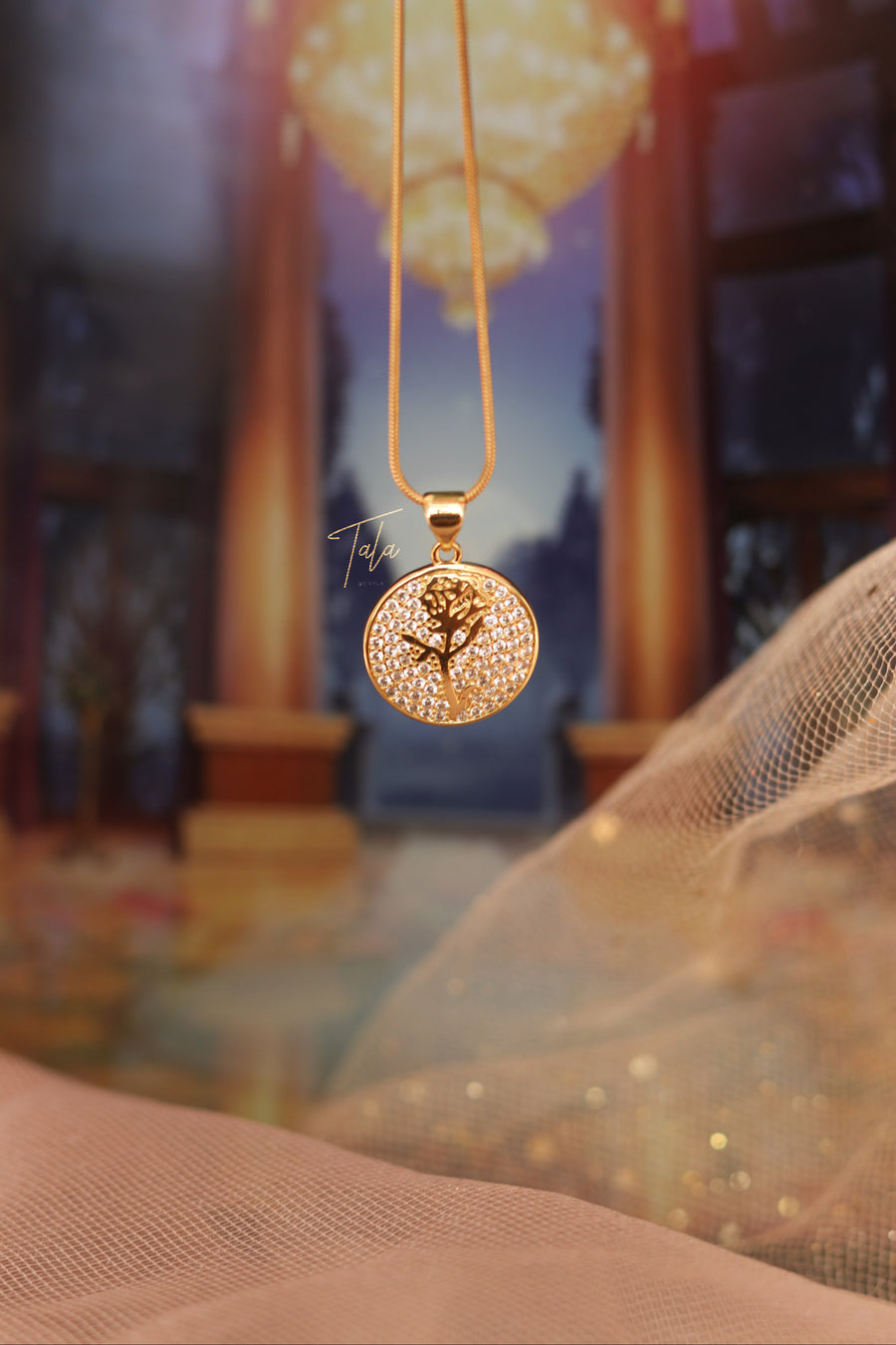 Belle's Rose Disc Necklace