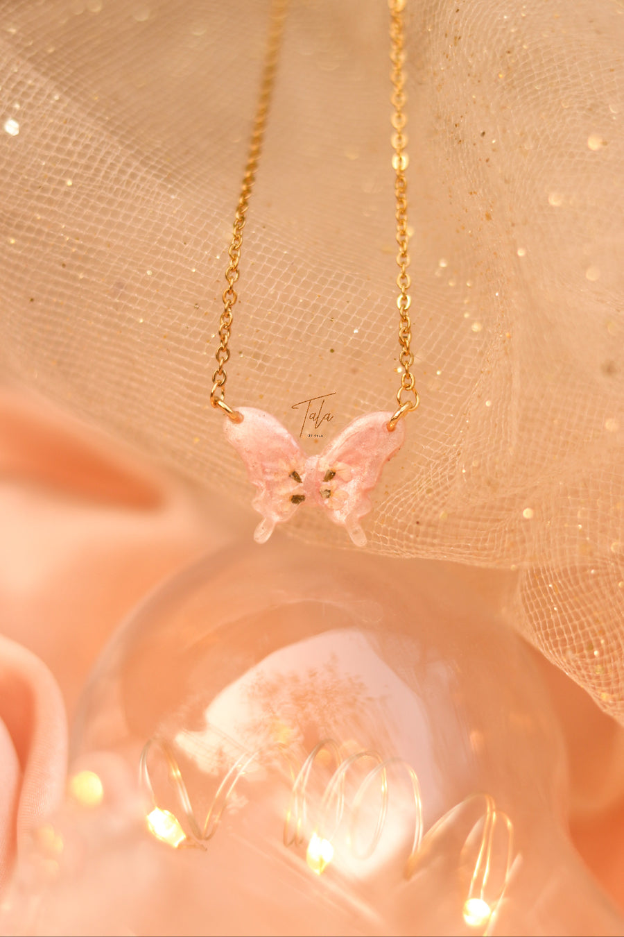 Barbie Butterfly Pressed Flower Necklace