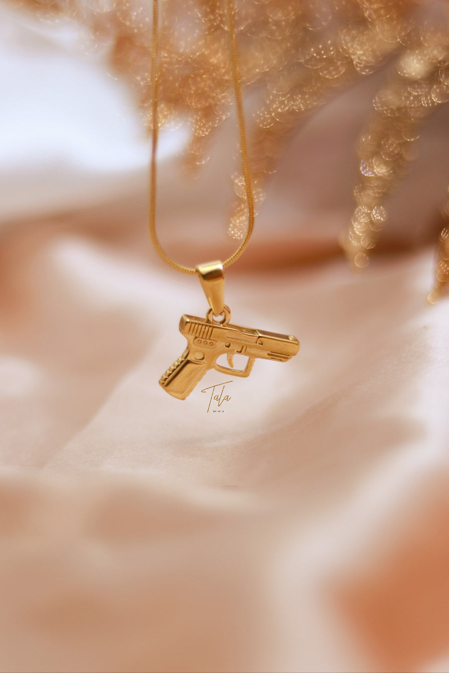 Money Heist Inspired Hand Gun Necklace