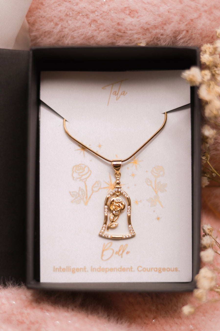 Belle's Glass Rose Necklace
