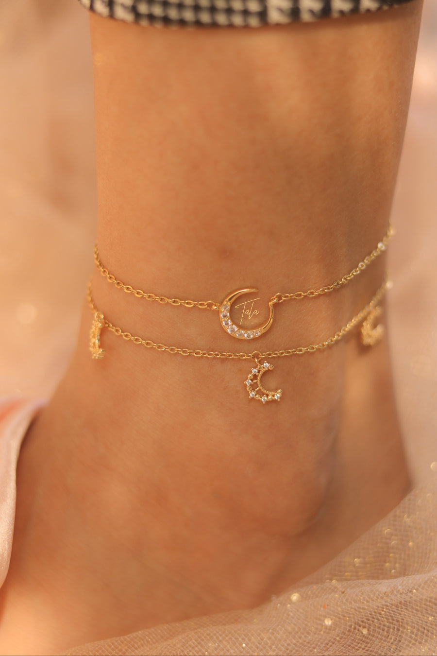 Triple Moon Anklet