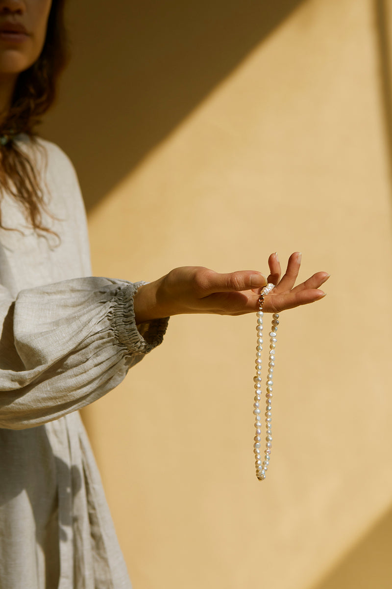 On The Nature Of Things pearl and semi precious bead necklace