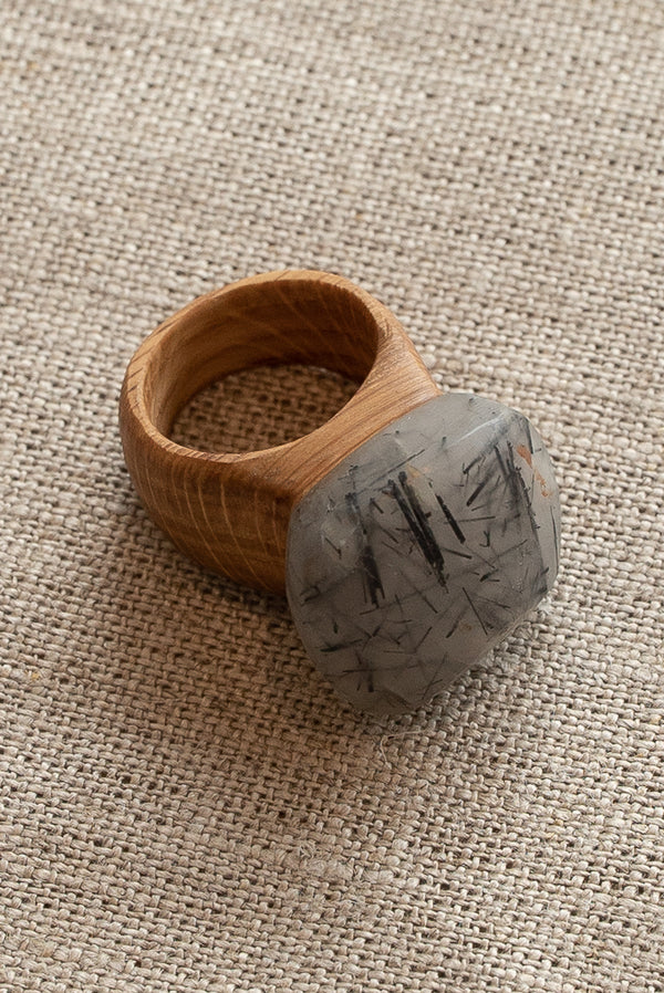Waiata Tourmaline Quartz and Oak Ring