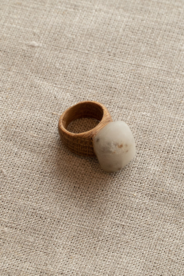 Waiata Moonstone and Oak Ring