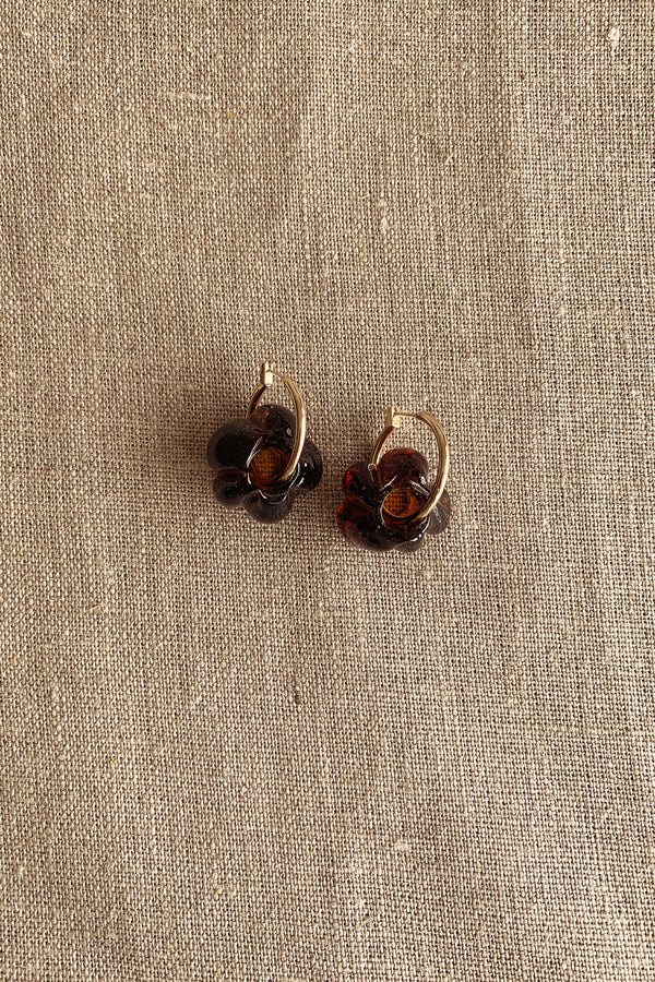 Sisi Joia Medium Brown Fleur Earrings