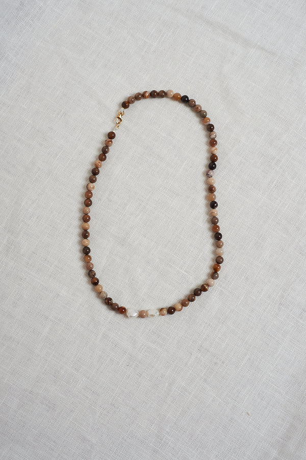 On The Nature Of Things wood bead and pearl necklace