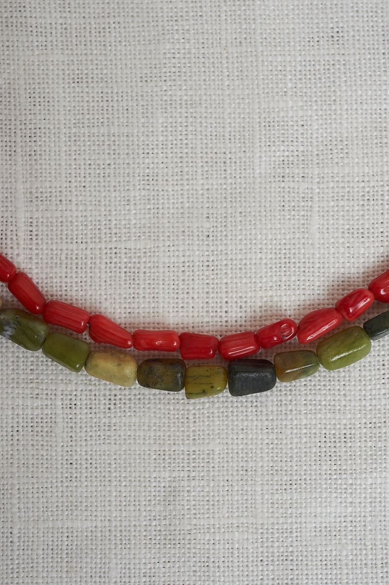 Sasha Stone Moss And Cherry Double Necklace