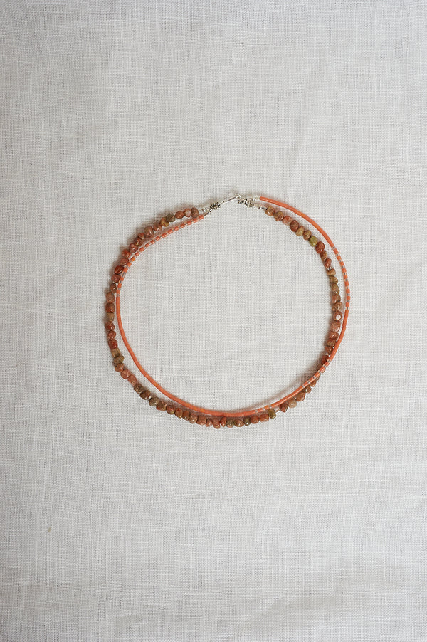 Sasha Stone Apricot And Grass Double Necklace