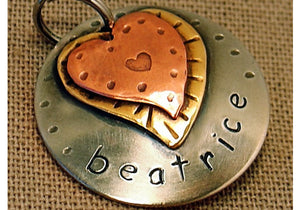 Double Hearts Beatrice Tag
