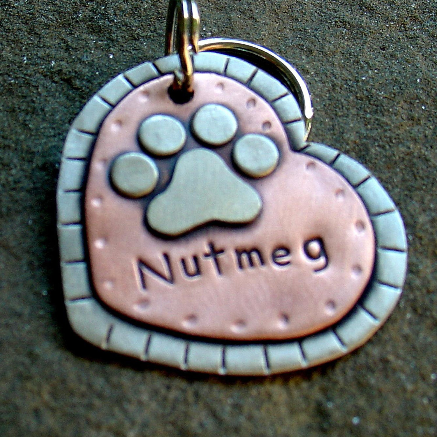 Heart Shaped Tag with Paw Print
