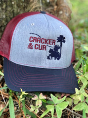 Center Logo Hat - Grey/Maroon/Navy