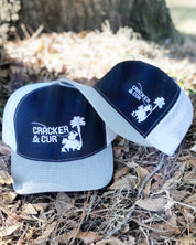 Tricolor Navy/Grey/White Side Logo Hat