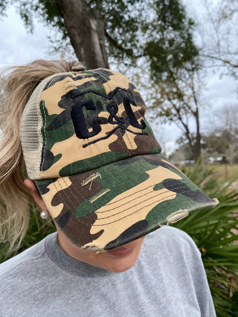 Army Camo/Black Brand Ponytail Hat