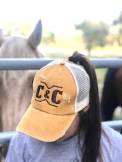 Mustard/Brown Brand Ponytail Hat