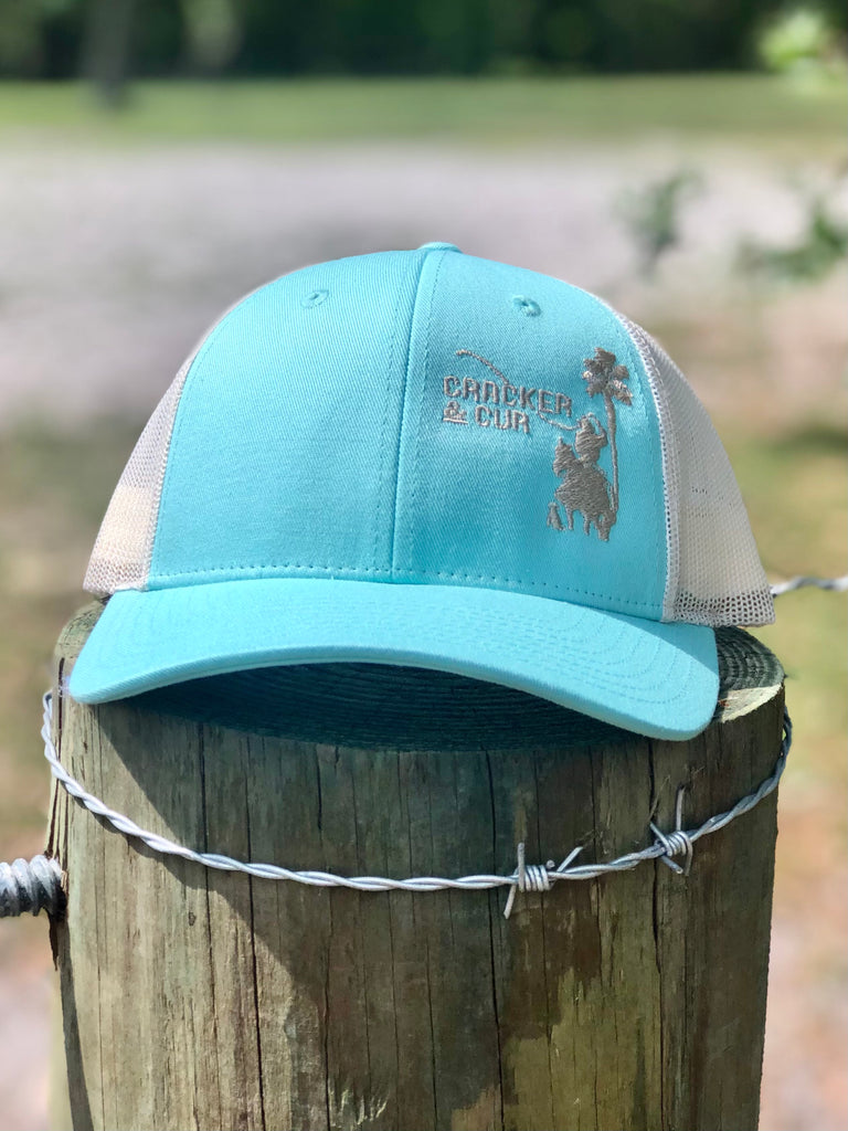 Ladies Side Logo  Hat - Teal/Cream