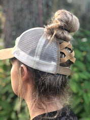 Khaki/Black Brand Ponytail Hat