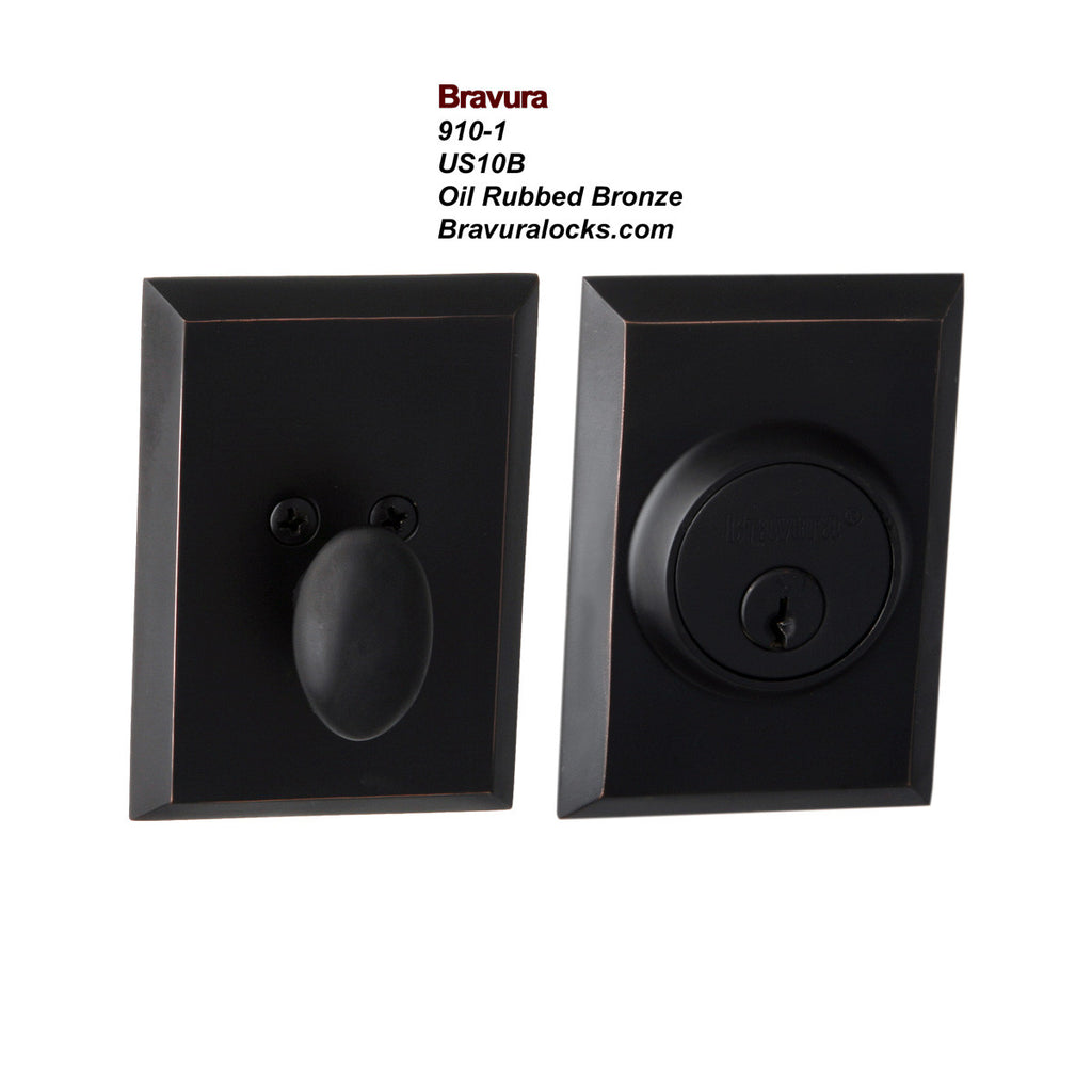 Bravura 910-1 Exterior Keyed Deadbolt Lock, Oil Rubbed Bronze