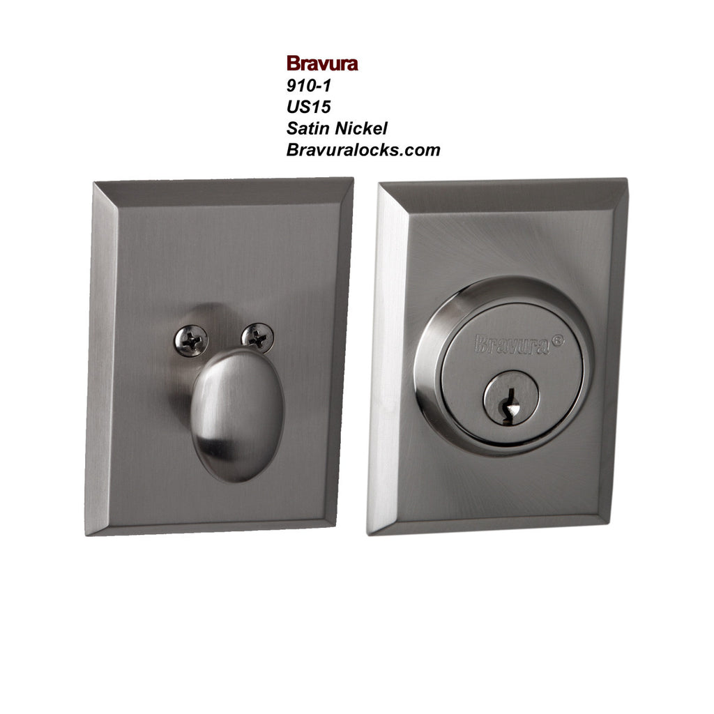 Bravura 910-1 Exterior Keyed Deadbolt Lock, Satin Nickel