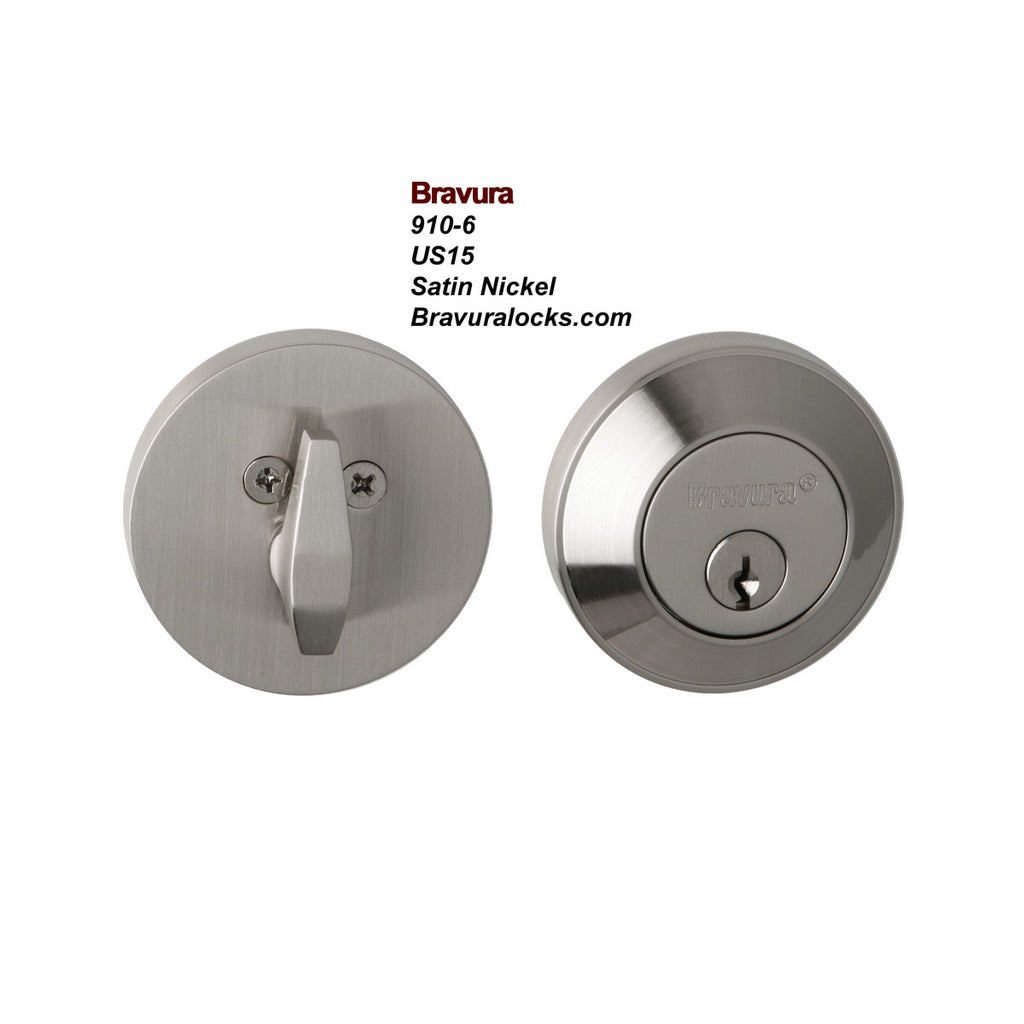 Bravura 910-6 Deadbolt<br>Exterior Door Lock<br>Solid Forged Brass Hardware