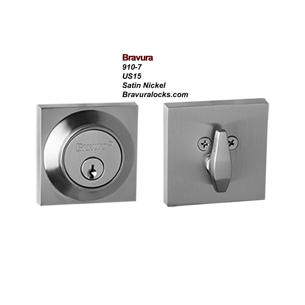 Bravura 910 7 Exterior Keyed Deadbolt Lock, Satin Nickel