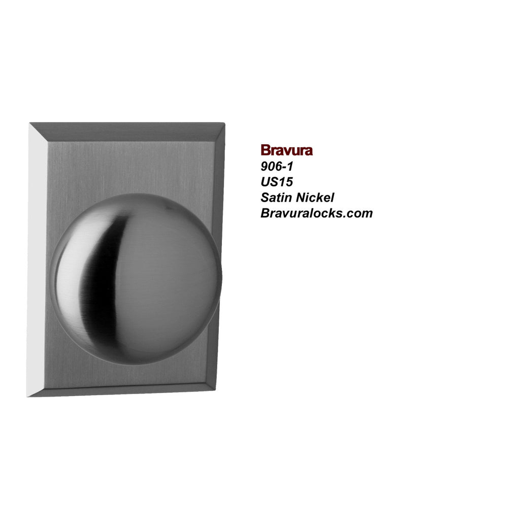 Bravura 906-1 Interior door knob, Privacy, Passage, Bedroom, Bathroom, Closet, Satin Nickel