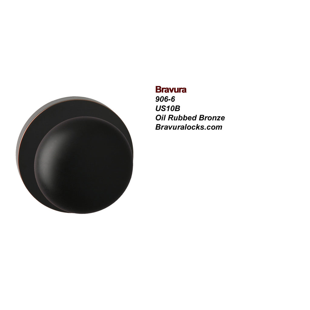 Bravura 906-6 Interior door knob, Privacy, Passage, Bedroom, Bathroom, Closet, Oil Rubbed Bronze