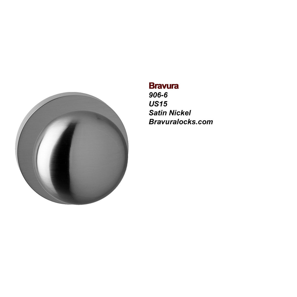Bravura 906-6 Interior door knob, Privacy, Passage, Bedroom, Bathroom, Closet, Satin Nickel