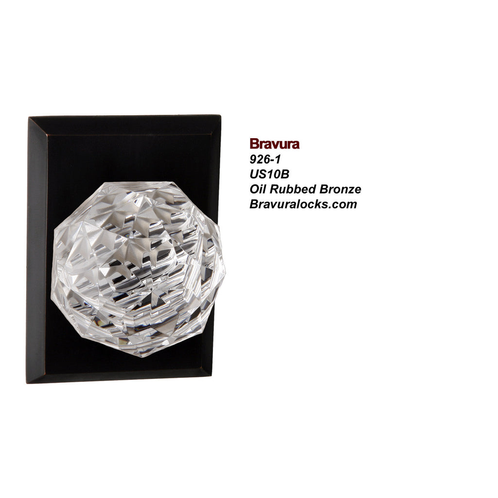 Bravura 926-1 interior door knob, Lead Crystal Knob, Privacy, Passage, Bedroom, Bathroom, Closet, Oil Rubbed Bronze