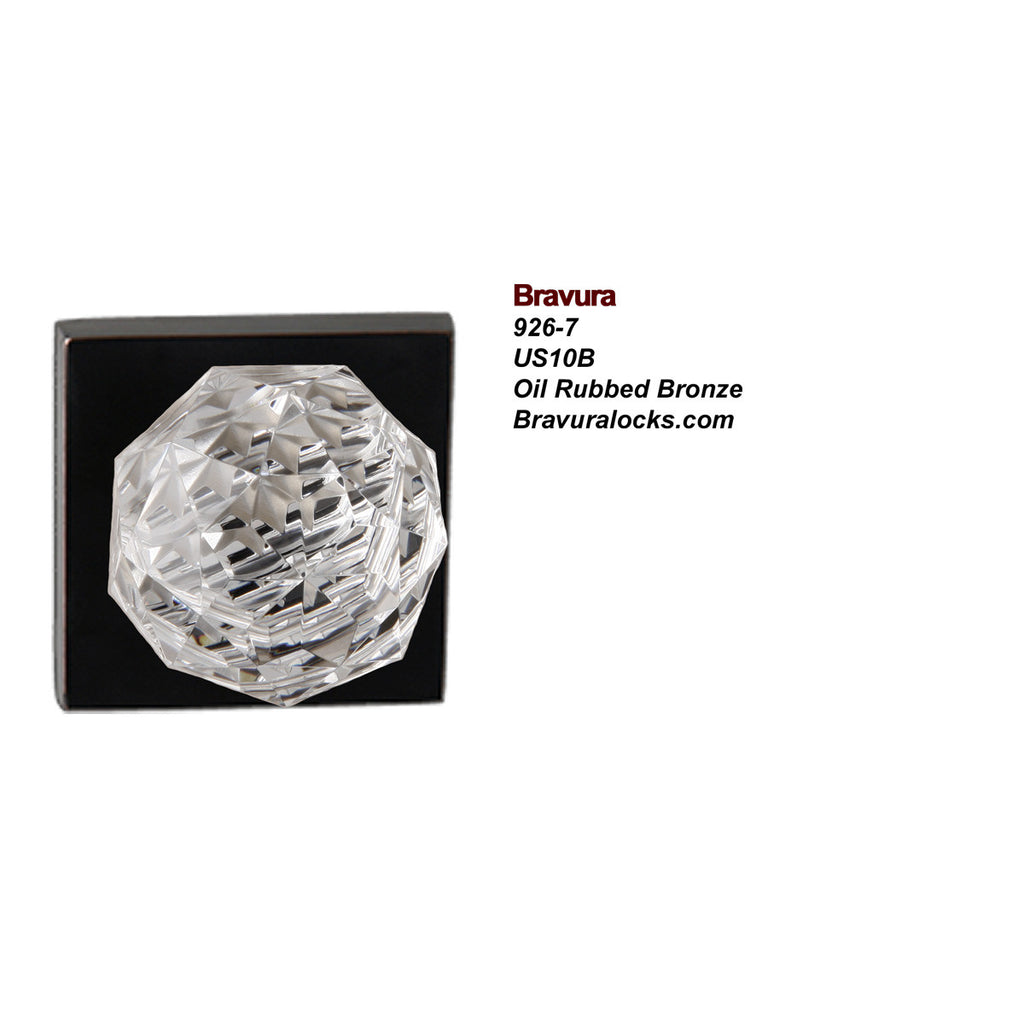 Bravura 926-7 interior door knob, Lead Crystal Knob, Privacy, Passage, Bedroom, Bathroom, Closet, Oil Rubbed Bronze