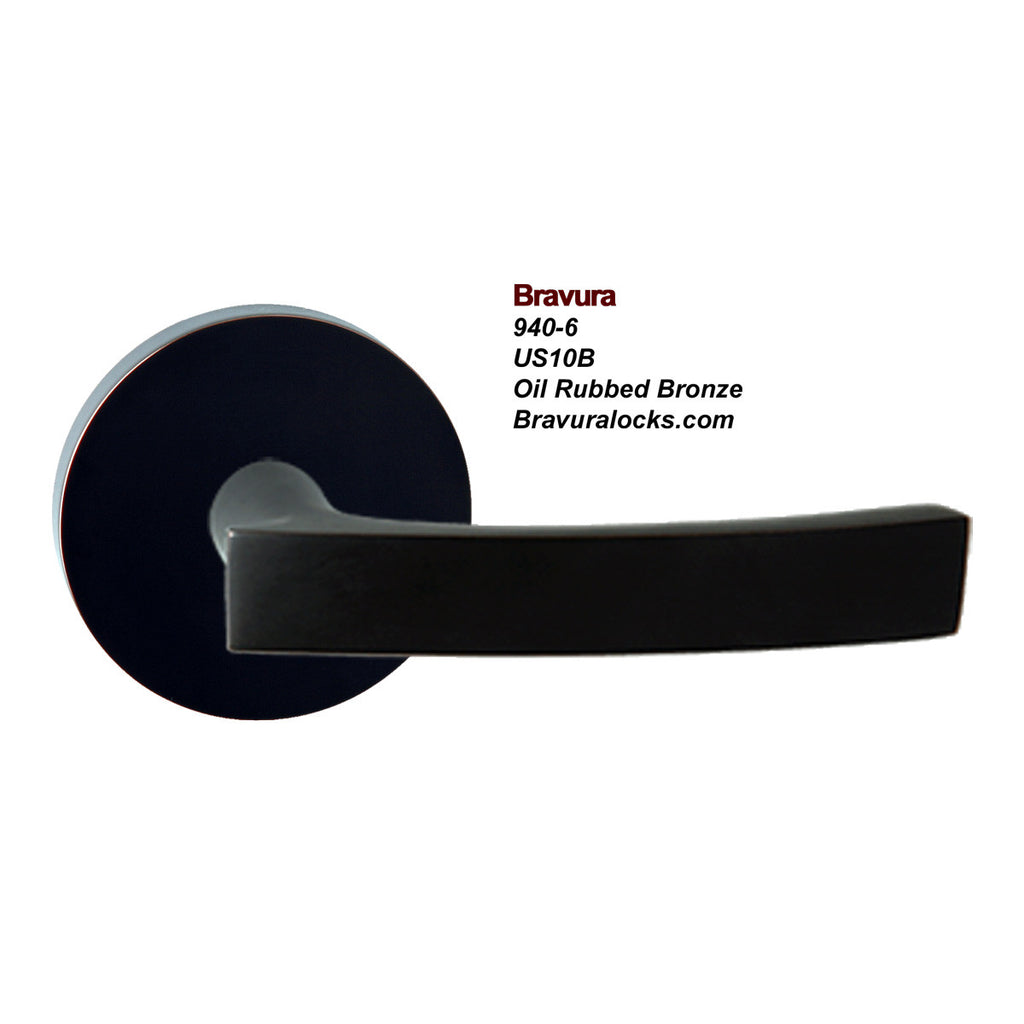 Bravura 940-6 interior door lever, Privacy, Passage, Bedroom, Bathroom, Closet, Oil Rubbed Bronze