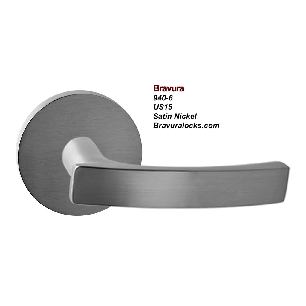 Bravura 940-6 interior door lever, Privacy, Passage, Bedroom, Bathroom, Closet, Satin Nickel