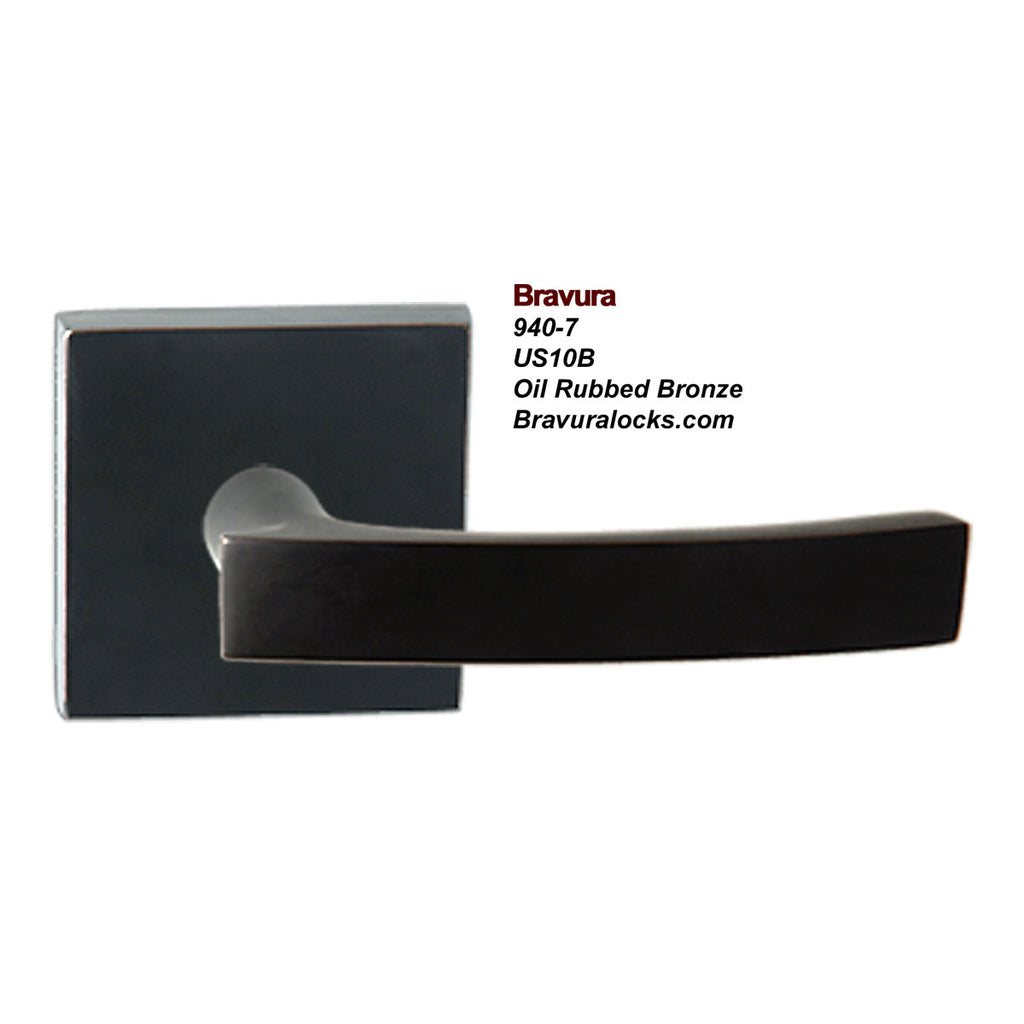 Bravura 940-7 interior door lever, Privacy, Passage, Bedroom, Bathroom, Closet, Oil Rubbed Bronze