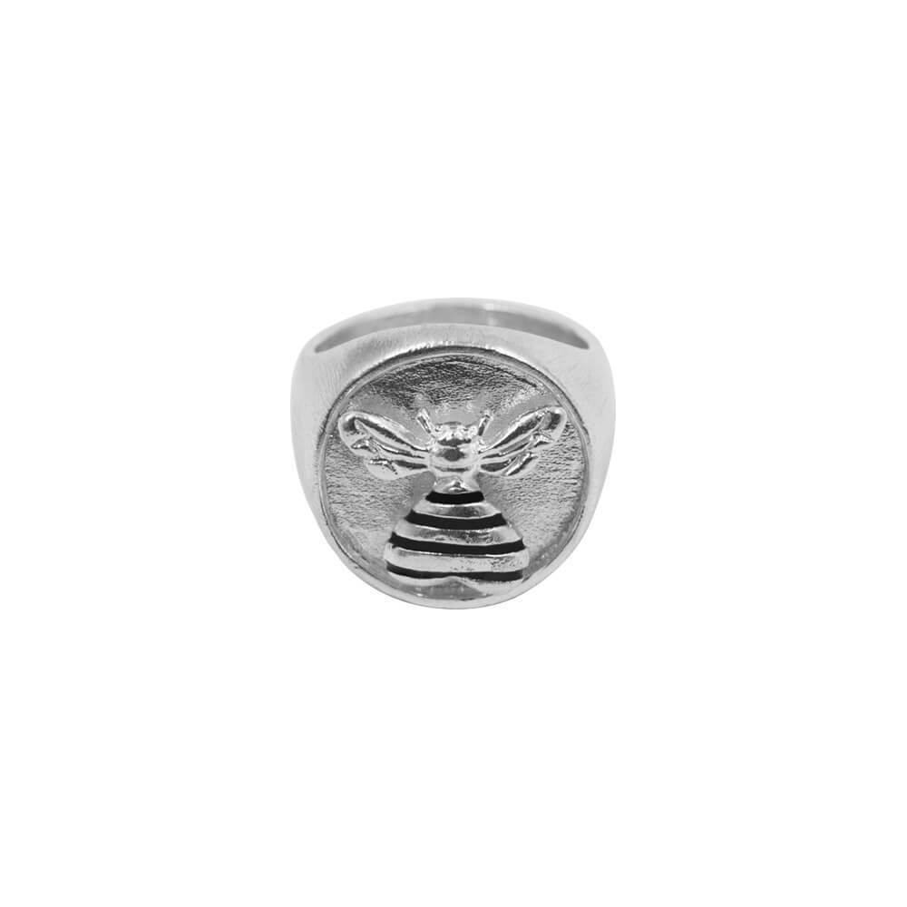 Bee Loved Stamp Ring Silver
