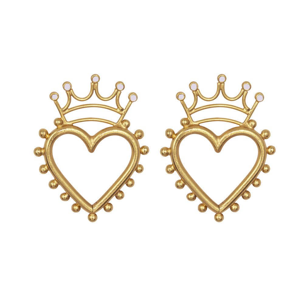 Queen Of Hearts Gold Studs