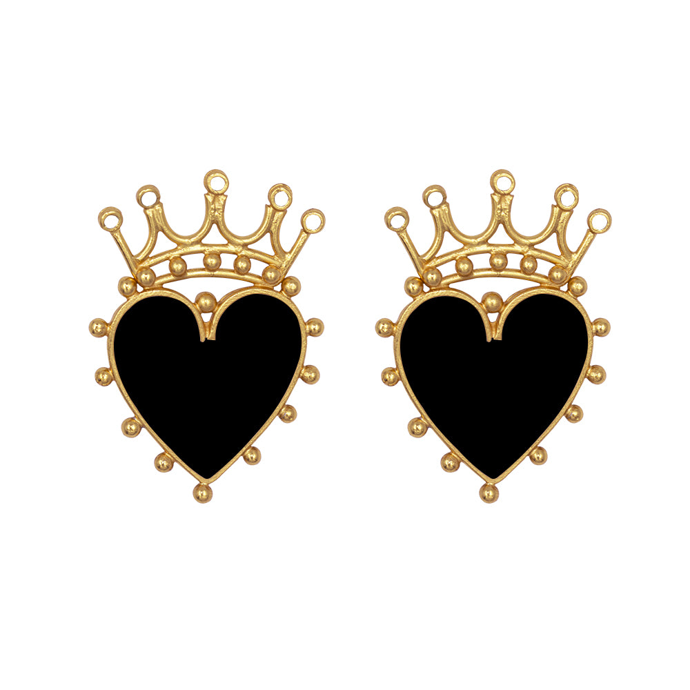 Queen Of Hearts Painted Studs