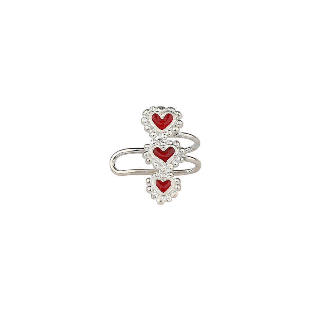 Beating Hearts Triple Earcuff Silver